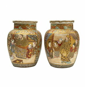 Great a pair of Meiji period Japan antique human painted Satsuma vase vintage
