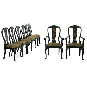Set of Eight Queen Anne Style Antique Dining Chairs in Black Lacquer w Chinoise