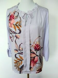 Meadow Rue Womens Evella Lavender Floral Blouse Roll Tab Sleeve Size Medium