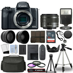 Canon EOS M50 Camera Body Black 3 Lens Kit 15 45mm IS STM 32GB Flash amp; More $649.95