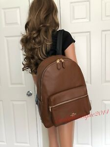 NWT COACH SADDLE BROWN PEBBLE LEATHER LARGE SHOULDER BACKPACK BAG PURSE