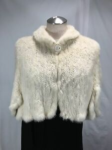 SEXY LUXURIOUS 100% REAL NATURAL WHITE MINK FUR HAND KNIT LADY STOLE FREE SHIPG