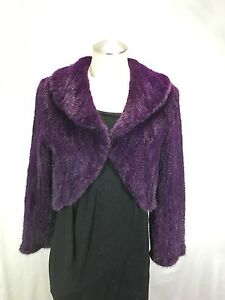 AWESOME SEXY RICHLY DYED PURPLE REAL MINK FUR KNITTED LADY BOLERO FREE SHIPPING
