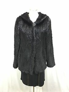 FLUFFY DENSE 100% REAL U S BLACK MINK FUR HAND KNITTED LADY HOODIE FREE SHIPPING