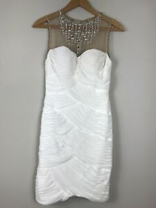 Cache White Dress Size 0 Nude Ruched Beaded Cocktail Party Short Sleeveless