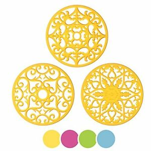 ME.FAN 3 Set Silicone Multi-Use Intricately Carved Trivet Mat Insulated Flexible