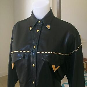 GIANNI VERSACE black cowgirl studded leather shirt w metal tips from Bondage