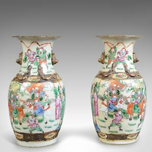 Mid 20th Century Pair of Chinese Baluster Vases Painted Ceramic Urns