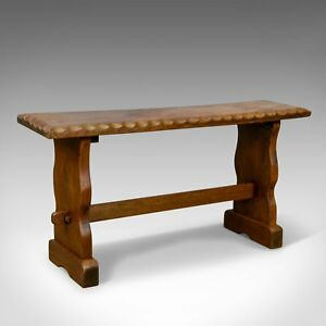Small Teak Bench English Arts & Crafts Revival Two Seat Form Mid 20th Century