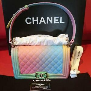 Chanel Boy Shoulder Bag Rainbow Pouch Woman Auth New Never Used Rare M Size Gift