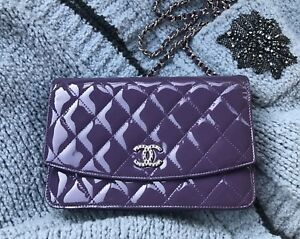 CHANEL Brilliant Violet Patent Leather Wallet on Chain WOC. NEW.