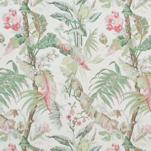 SCHUMACHER TROPICAL PALM LEAVES HIBISCUS LINEN FABRIC 10 YARDS PINK MULTI