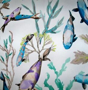 MANUEL CANOVAS TROPICAL FISH INDOOR OUTDOOR FABRIC 10 YARDS TURQUOISE LAVENDER