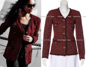 CHANEL 11A 11F Red Black Fantasy Tweed Jacket Gripoix Jeweled Button F34