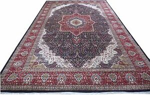 Dark Blue Silk Persian Design Rugs For Sale Indian Jammu Handmade Rug 12' X 19'