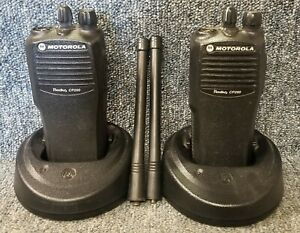 Set of 2 Motorola CP200 VHF 4 Chan 5 Wt Radio CP 200 Very Good AAH50KDC9AA1AN