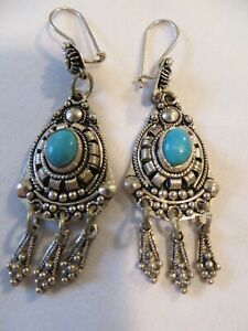 Handmade Turkish sterling silver and turquoise chandelier earrings