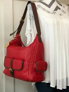 ISAAC MIZRAHI Red Soft Leather Large-XL Hobo Shoulder Handbag Tote Purse Satchel