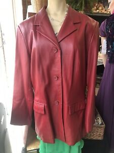Red lamb skin Leather jacket Coat Ladies large