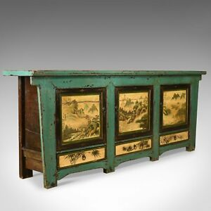 Vintage Sideboard Chinese Painted Buffet 19th Century Revival MidLate C20th