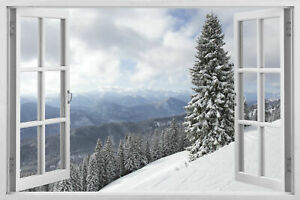 3D Window Wall Stickers Top Tropical Ice Winter Snow Nature Decals Wallpaper W37