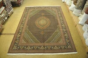 Fish Design High End Rug 8x11 Persian Black Wool & Silk Handmade Rug