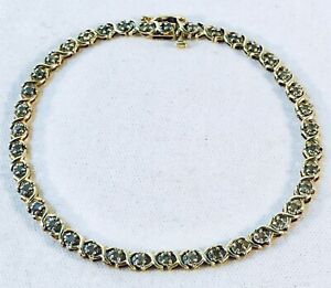 Vintage 10k Solid Yellow Gold Diamond Tennis Bracelet 7 58 Long