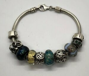 Sterling Silver Cham Chamilia Bracelet 10 Sterling And Glass Bead Charms. 7""