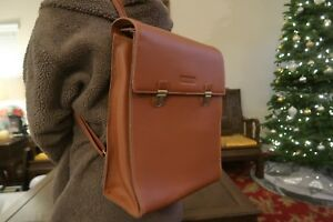 Korean Style Brown Leather Backpack