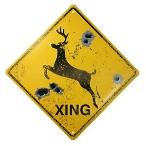 DEER CROSSING SIGNBULLET HOLESRustic Hunting Cabin Lodge Street Road Decor ...