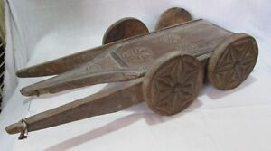 Indian Old Antique Hand Carved Unique Wooden Bulk Cart Collectible