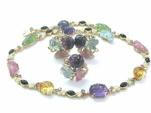 NATURAL 18Kt Color Gemstone Tourmaline Carved Cabs Diamond Jewelry Set 103.4Ct