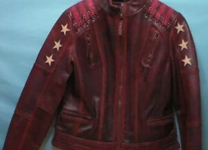 Ladies Black Rivet By Wilson's Leather Jacket Size L. Oxblood white red EUC