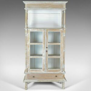Antique Display Cabinet Tall French Limed Oak Cupboard Early 20th Century