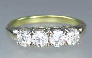 Wonderful Vintage 14K Yellow White Gold 1 Carat Natural Diamond Ring Size 6 34