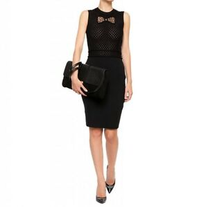NWT Red Valentino Black Sleeveless Lace Bow Virgin Wool Knit Pencil Dress L