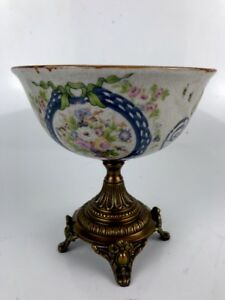 Asian Crackle Ceramic Porcelain Bronze Brass Footed Pedestal Centerpiece Bowl
