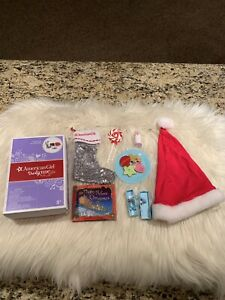 American Girl Christmas Eve Set Truly Me Doll Stocking Cookies Santa Hat Book ++