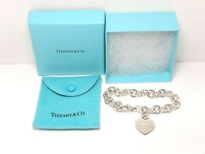 Tiffany & Co Sterling Silver Bracelet Heart Tag Chain 925 Please Return to