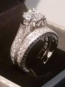 Princess cut Diamond Engagement ring set Antique White Gold Platinum Finish
