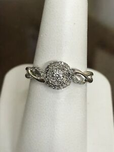 10K Womens White Gold Diamond Cluster Ring Petite**!