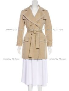 CHANEL 10S 10P Fringed Beige Tan Fringe Trim Belted Trench Coat F36 F38 NEW
