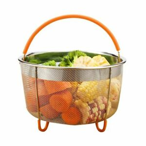 Stainless Steel Pot Steam Basket Silicone Handle Instant Cook Kitchen Cookers