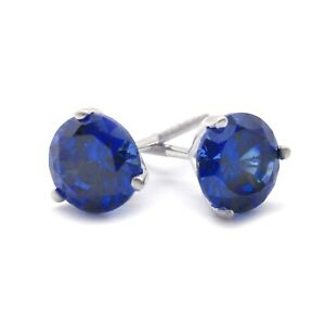 1 Ct. Blue Diamond Round Earrings Studs Martini Real 14K White Gold Screw Back