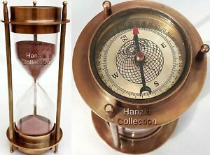 7 Nautical Brass Sand Timer Hourglass with Maritime Brass Compass Table Decor $27.99