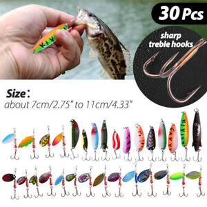 30X Ice bass Fishing Lures Spinner Spoon Baits Hooks Tackle Attractant saltwater
