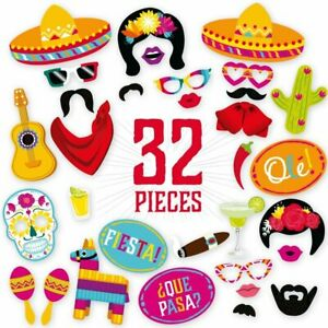 32PCS Fiesta Photo Booth Props for Mexican Fiesta Party Supplies Decorations NEW
