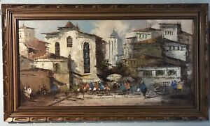 SOFA SIZE SALVADOR SIGNED EXPRESSIONIST MEXICO CITYSCAPE OIL ON CANVAS PAINTING $2458.78