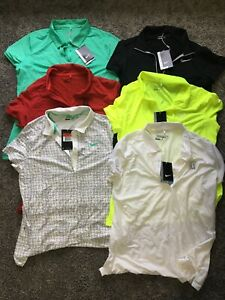 Lot Of 6 Womens Nike Golf Dri-Fit Short Sleeve Polo Shirts Size L