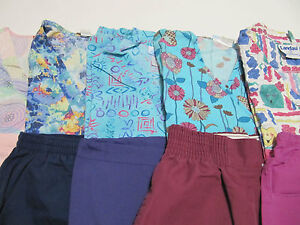 WOMANS LOT OF SCRUB SETS 5 TOPS 5 PANTS VERY NICE CONDITION   SIZE S (BOX 28)
